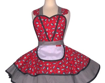 Diner Waitress Apron in Gray & Red - Futuristic Retro Apron Ruffled Cute Sassy Vintage Full Apron, Pinup Sweetheart
