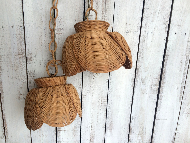 Vintage Wicker Rattan Hanging Lamps Swag Wicker Pendant