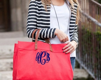 Leather Handle Monogram Canvas Tote- Personalized Leather Handle Canvas Tote Bag - Monogram Canvas Tote With Large Monogram