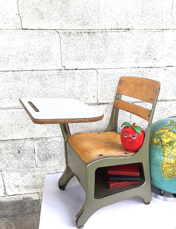 metal and wood student desk one piece desk and chair vintage small