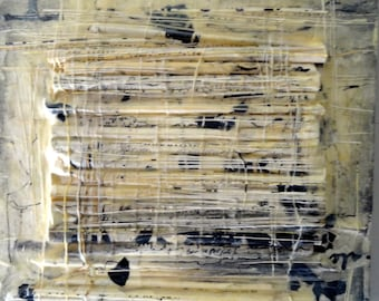 """Encaustic Assemblage, Titled, """"Mysterious Script"""" by Christine Graf"""