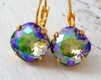 Purple green rainbow earrings,rainbow crystal drop earrings, drop earrings,Swarovski earrings, Bridal earrings, Bridesmaids gift