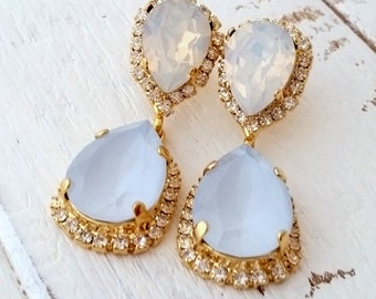 White opal blue opal chandelier earrings, opal earrings,blue and white opal earrings,blue bridal earrings,drop earring,bridesmaids gift