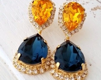 Navy blue and sunflower yellow Chandelier earrings, Dangle earrings, Bridal earrings, Deep blue and yellow Swarovski earrings,Gold or silver