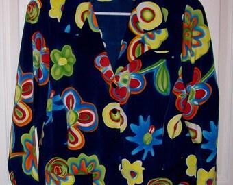 Vintage Ladies Black Geometric Print Blouse by Rexx Ltd Medium Only 6 USD