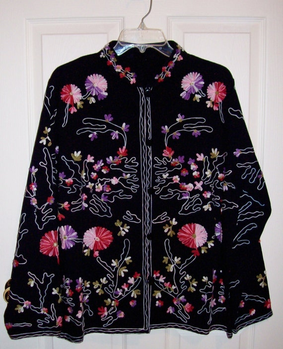 Vintage 1960s Black Embroidered Nehru Jacket Large Hippie Mod