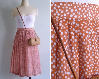 Vintage 80's Orange Bubble Dot Pleated High Waist Skirt XS or S W25