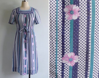 Vintage 80's 'Sing The Blues' Polka Dots & Pink Flowers Cotton Dress XS or S