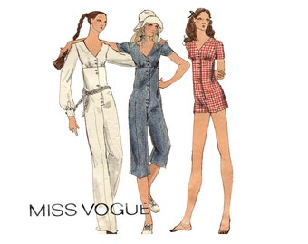 1970s Jumpsuit Pattern V Neck Empire Waist Long or Short Jumpsuit Button Front Full Sleeve Miss Vogue 8028 Bust 34 Vintage Sewing Pattern