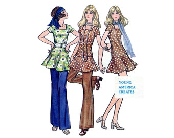1960s Mini Dress and Pants Pattern Drop Waist Flippy Skirt Square Neck Dress Flared Pants Butterick 5720 Bust 34 Vintage Sewing Pattern