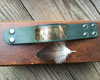 Leather bracelet Cuff, Free Bird, Etched brass, Crows on a Branch