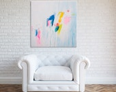 pink and white ABSTRACT painting, canvas art, wall art large, 32X32, mid century modern art by DUEALBERI Roma
