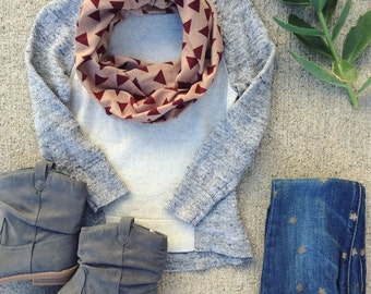 Toddler Infinity Scarf/Toddler Scarf/Little Girl's Infinity scarf, Baby, Tan and Maroon Triangles Scarf for Toddler