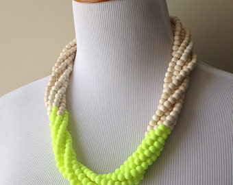 Bananas and Cream Color Blocked Multi Strand Necklace - Yellow and Off White Color Block Statement Necklace - Bianca Collection