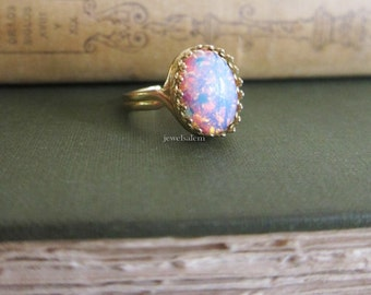 Harlequin Opal Ring Fire Opal Ring Pink Opal Gold Ring Statement Ring Opal Ring Adjustable Ring Gift Modern Birthstone Jewelry Ring
