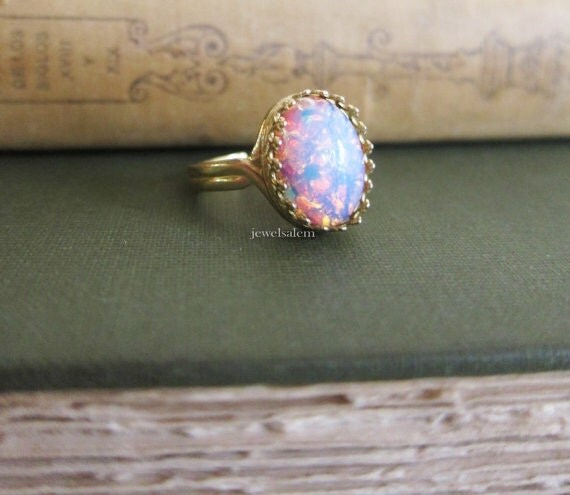 Items Similar To Opal Ring Exquisite Braided Opal: Items Similar To Harlequin Opal Ring Fire Opal Ring Pink