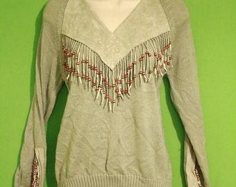 Vintage 70s Womens Gray Suede Fringe Sweater Size Small Medium Hipster Folk Boho Tribal