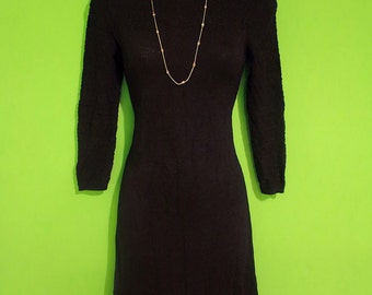 Vintage 60s Little Black Dress Womens minimalist cocktail secretary small medium long sleeve
