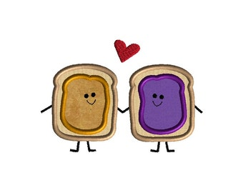 Peanut Butter and Jelly Love Applique Machine Embroidery Design-INSTANT DOWNLOAD