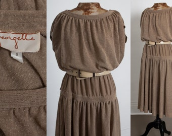 60s French Vintage Boho Dress, Natural Drapey Wide Shoulder, Neutral Beige Taupe color, Peasant Boho Hippie, 1960s Womens size Medium