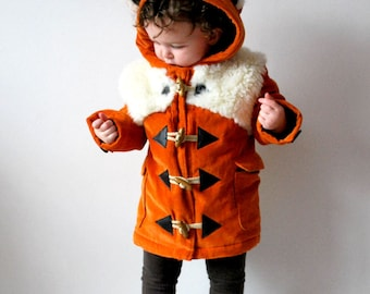Kids fox coat orange childrens animal duffle jacket furry faux fur fluffy baby babies toddler woodland fox outfit