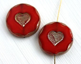 2pc Large Red Heart beads, 21mm picasso beads, czech glass heart, table cut - 1599