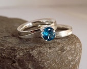 Blue Topaz Ring Set - Alternative Engagement Ring Set - Solitaire Ring Handcrafted with Argentium Silver