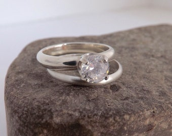 Engagement Ring Set with Moissanite - Eco Friendly Diamond Alternative - Promise Ring for Her