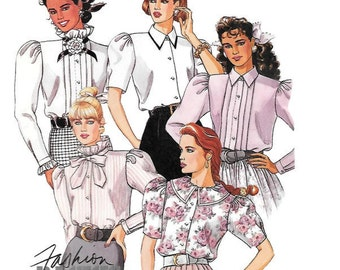 Womens Button Front Blouses with Long or Short Gathered Sleeves, Pleated Front, Ruffle Stand Up Collar, McCalls 4023 Size 6/8, PARTIALLY CUT