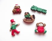 Christmas Magnets, Christmas Toys, Children's Toys, Toy Soldiers, Train, Doll, Rocking Horse, Refrigerator Magnets, Holiday Christmas Set