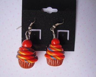 Pumpkin Swirl Cupcake Earrings
