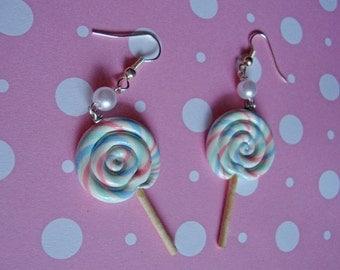 Pastel Cotton Candy Swirl Lolipop Earrings