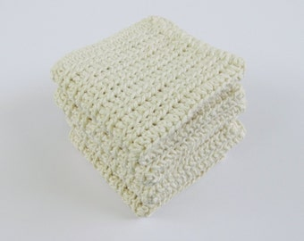 Crochet Set of 4 Washcloths or Dishcloths in Ecru