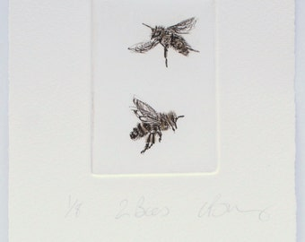 2 little Honey Bees. Drypoint etching. limited edition print