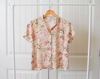 vintage floral blouse button up collar short sleeve