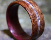 Waterfall Bubinga Ring with Purpleheart Liner and Mother of Pearl Inlay - Bentwood Ring - And We Plant A Tree:)