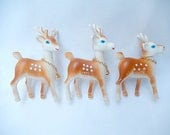 vintage miniature deer, 3 pieces, made in Hong Kong, 1950's Christmas decor, vintage Christmas decor
