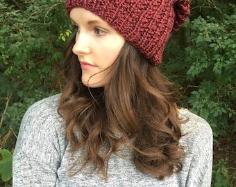 Cabernet Knitted Slouchy Hat / Wine Cranberry Knit Beanie Slouch Tam Hat