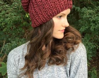 Chunky Knit Slouchy Hat Tam Beanie | Red Merlot | Alpaca Yarn