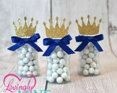 Little Prince Baby Bottle Favors in Royal Blue & Glitter Gold - Set of 12 - Baby Shower