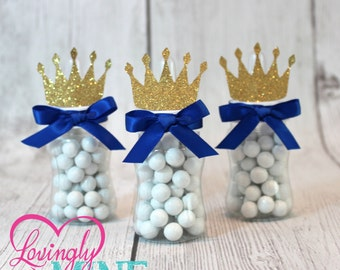 Little Prince Baby Bottle Favors in Royal Blue & Glitter Gold | Sold in Sets of 12 | Baby Shower Favors | Additional Colors Available