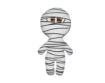 Halloween Mummy Pillow Doll - Black and orange on White Off French Cotton Canvas - Several sizes avalaible