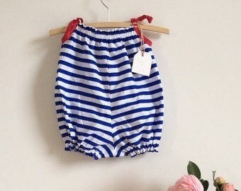 Nautical baby romper or playsuit, blue and white striped bubble suit, sunsuit, baby romper size 000 - 3 baby clothing, summer baby fashion