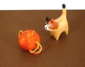 Solar Flares Wool Catnip Cat Toy - Needle Felted Wool