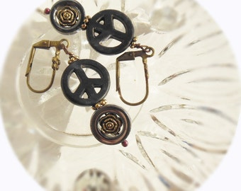 Black peace sign and antique golden roses in hematite stones, meditation, peace and love, chakra stones, leverback