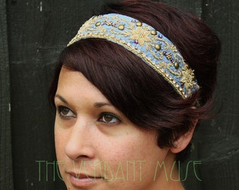Sari Headdress Base- Periwinkle Blue and Gold Headpiece Festival Boho Tribal Fusion Bellydance