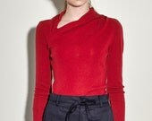 Red Sweater with Extra Fine Merino Sweater - Red Asymmetric Sweater with Twist Detail - Red Sweater - Wool Sweater - Free Shipping