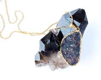 Druzy- Druze-Black-Raw mineral- Crystal- Sparkling-gold Necklace