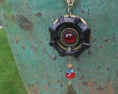 Industrial Chic Black Faucet Handle Pendant with Red and Brass Accents