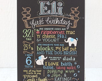 "First birthday chalkboard style custom ink drawing, 15""x20"" art board, the original Favorite Things Poster™"